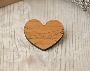 Wrapped Love Heart Wooden Brooch