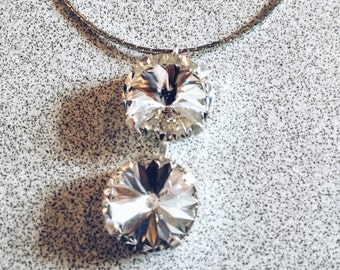 Double Swarovski Crystal Drop Pendant
