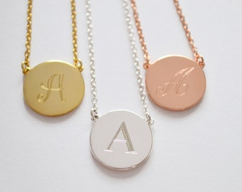 One Initial Disc Necklace