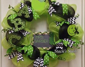 Teacher Wreath, Classroom Door Wreath, Teacher Personalized Door Wreath