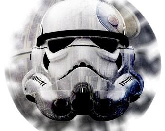 StormTrooper - Trooper Helmet with Death Star Graphic Art Print