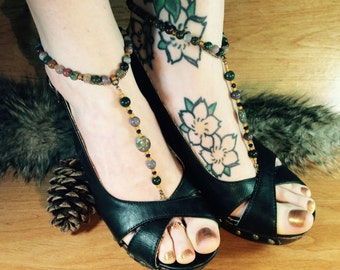 Stretchy Barefoot Sandal Pair, Fancy Jasper Stone Beads, Festival Shoes, Antique Brass Soldered Chain, Beach Jewelry