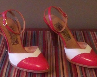 Vintage Womens' Spanish Made Red and White Ankle Strap Heels