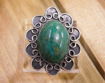 Intricate Green Turquoise Sterling Silver Ring