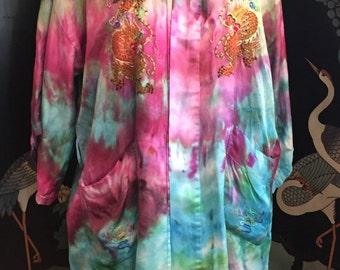 Silk Dragon Colorful Kimono