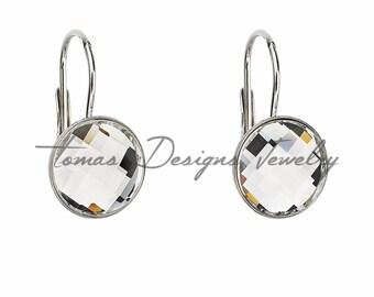 Swarovski Crystal Earrings - Round Rhodium-Plated Silver Earrings with Swarovski Elements Crystals - Leverback Clasp