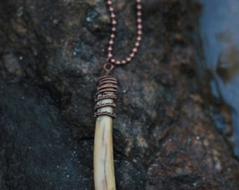 Copper wire wrapped bone pendant and necklace