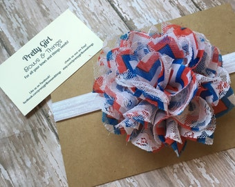 Red white and blue chevron lace and chiffon flower headband