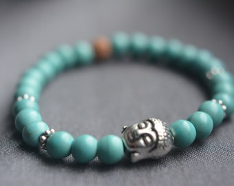 semi precious stone bracelet, 6 mm beads, turquoisewith buddha and rudraska bead