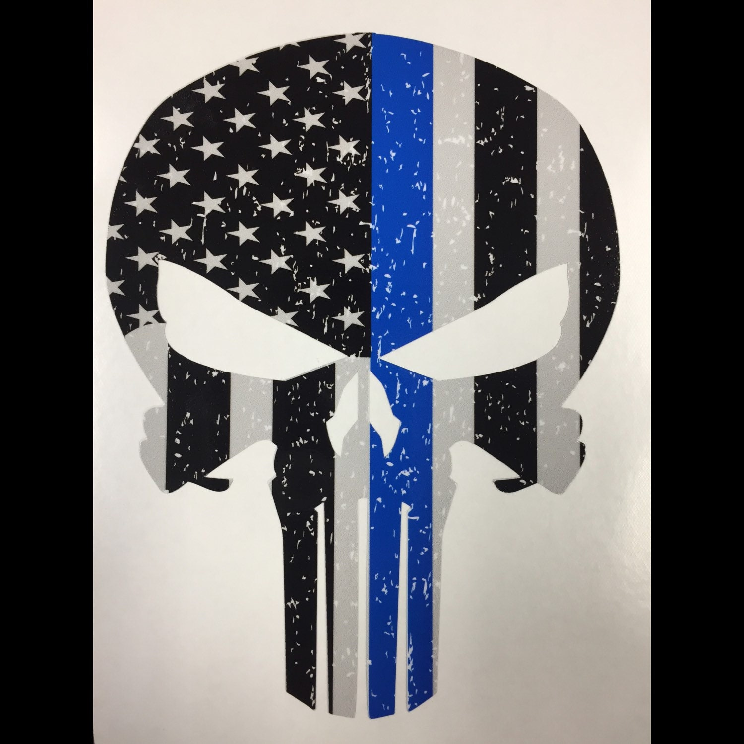 Transfer Stickers For Walls Blue Line Punisher Skull Black Grey And By Personalizeyourride