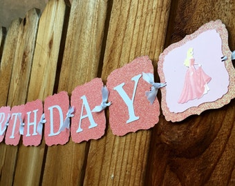 "Sleeping beauty Aurora ""Happy Birthday"" banner"