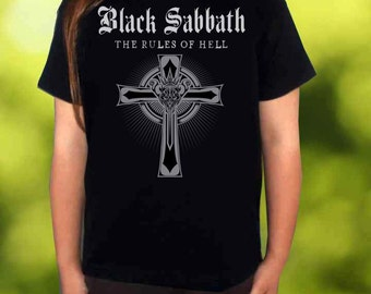 black sabbath the rules of hell BLACK t-shirt black sabbath shirt children toddler kid tee for gilrs and boys size:3-11 years