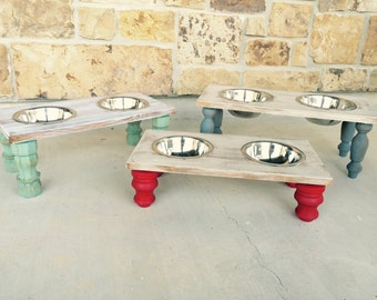Small Double Dog/Cat Feeder, Dog Bowls, Elevated Dog Bowl, Dog Bowl, Wooden Dog Feeder, Pet Feeder, Elevated Pet Feeder