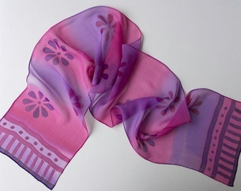 Purple and Pink Scarf,  Hand Painted Silk Scarf,  Chiffon silk shawl, Floral Scarf, Free Postage, purple scarf, pink scarf, silk anniversary