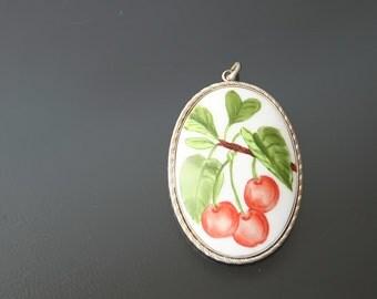 Art Deco Floral Cherries Hand Painted Porcelain Pendant.