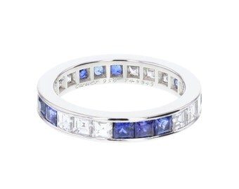 Cartier Sapphire and Diamond Full Hoop Eternity Ring in Platinum