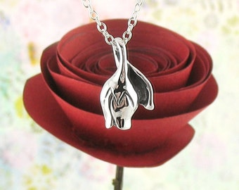 Rosebud Necklace in Sterling Silver | Rose Necklace | Rose Jewelry | Rose Flower Necklace