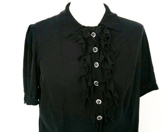 1940s Black Georgette Blouse with Front Ruffles, Scallop Collar and Short Scallop Cuffed Sleeves