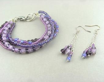 Bracelet + earrings - SET - purple (unique)