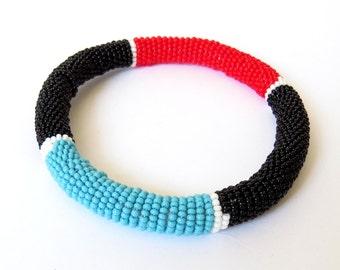 African Zulu beaded round bracelet - Black/Red/Blue