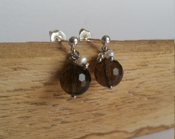 Little stone - smoked crystals earrings, beads of water soft and Silver 925