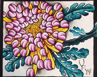 Original Watercolor Tattoo Art Flower