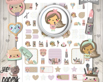 Makeup Stickers, Planner Stickers, Kawaii Stickers, Beauty Stickers, Planner Accessories, Makeup Party, Spa Party, Salon Party, Stickers