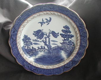 """Vintage Booths Blue and White """"Real Old Willow"""" Dinner Plates Set of 3"""