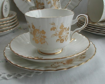 "Royal Stafford ""Princess"" Gold Rose Design Tea Cup Trio"