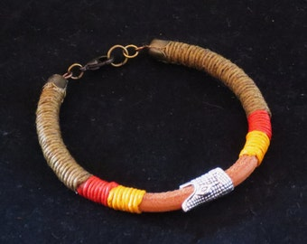 Round Leather Summer Bracelet with Waxed Thread and Crocodile Head Gift for Her gift for Him