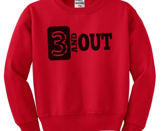 Kids 3 and Out Football Sweatshirt, Youth Football Shirt, Football Sweatshirt, 3 and Out, Kid's Football Shirt, Printed Sweatshirt