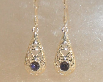 Earrings iolite or cordierite and Silver 925