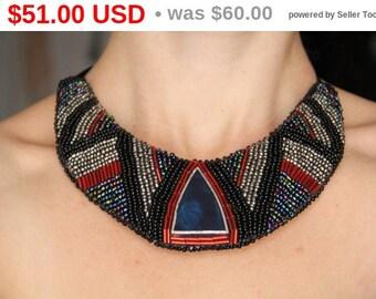 METALLIC Kolisnyk Bijou Ethno Beaded embroidery staind glass gift for woman,bib necklace, beadwork necklace,  ethnique jewelry for w...