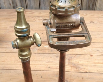 French vintage 2 fire hose at the beginning 20eme Century in brass and copper