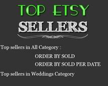 Top Etsy sellers Top selling shops Most popular shop Best sellers Top sellers in Weddings Category Top Sellers all Category, TOP 1000 SHOP