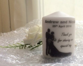 Personalised Wedding Favour Candles bride and groom silhouette 8cm tall