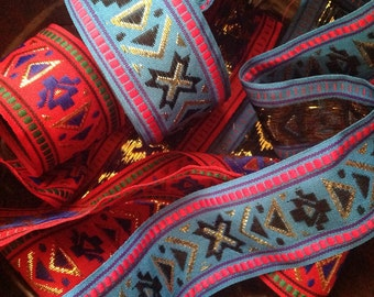 2 Lenghts of Gold Thread Ribbon. Aztec. Indian.