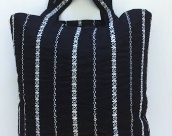 Black and White Embroidered Lined Tote