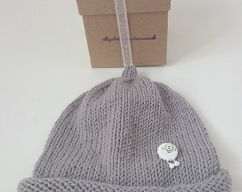 Grey Baby Hat and Gift Box