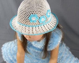 Crochet summer hat with  Blue flowers Girls sun hat baby Summer hat Crochet girls hat Suns hats for babies girl's beanie  crochet flower