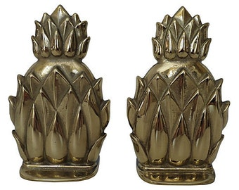 Hollywood Regency Pineapple Bookends, Brass Bookends, Vintage Bookends