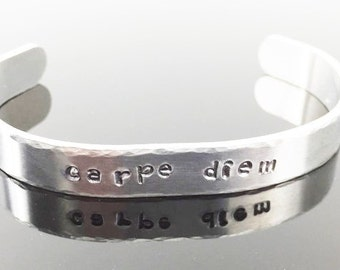 Sale! Personalized Hand Stamped Bracelet, Grad Gift, Gift for Her, Inspirational Quote, Skinny Bracelet, Secret Message, Aluminum Cuff