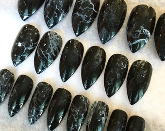 Faux Dark Marble Nails * Fake Nails * Black And White * Marble Look * Stiletto Nails * Glue On Nails