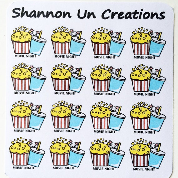 Movie Night Bouquet With Drinks: Movie Night Popcorn And Soft Drink Stickers By