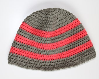Beanie hat, crocheted baby Beanie, crochet beanie with stripes
