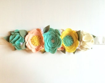 Felt flower crown with green leaves headband - mint, yellow, peach, lace