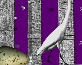 "Undetermined ~ digital art ~ 16""x12""~ surreal art with crane"
