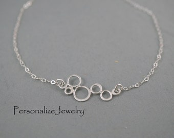 Bubble Necklace, Sterling Silver, Silver Circle Necklace, Abstract Necklace, Bubble Jewelry, Silver Geometric Necklace, Linked Circles