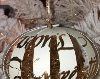 Unique Christmas Ornament - Seasons Greetings, White