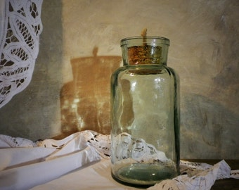 Vintage clear glass bottle with cork stopper, old Soviet era pharmacy bottle, rustic primitive home/ kitchen decor, collectible piece